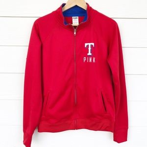 PINK Victoria's Secret Jackets & Coats - Victoria's Secret Pink Texas Rangers Zip Up Jacket